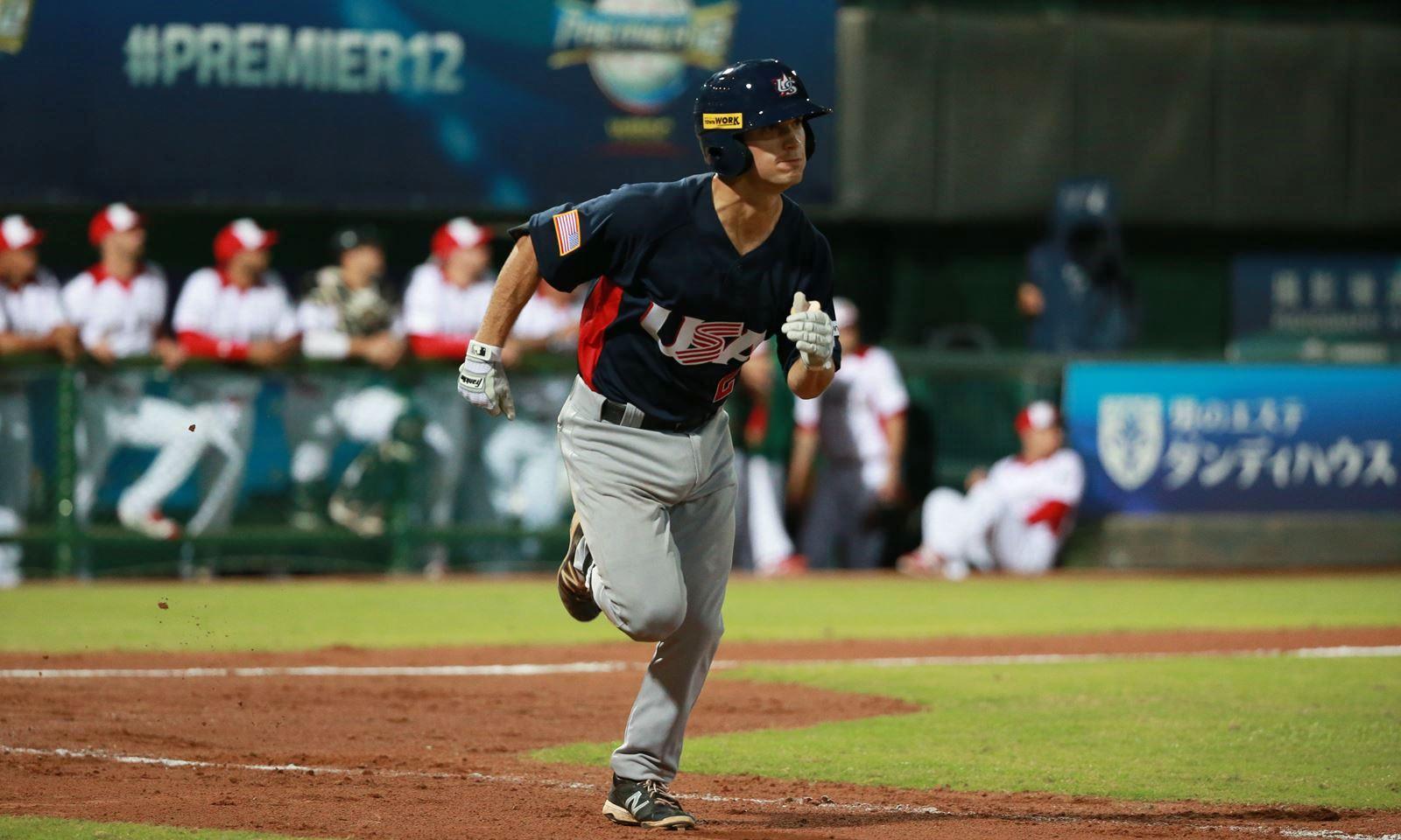 Estrella del Premier12 WBSC Adam Frazier debuta en la MLB, da sencillo en primer turno al bate