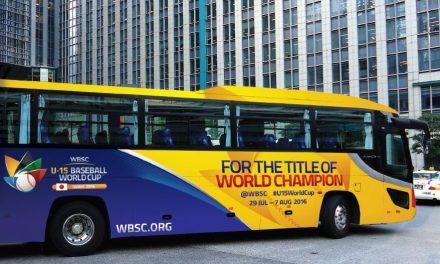 WBSC U-15ベースボールワールドカップの公式ラッピングバス、いわき-東京間で運行開始