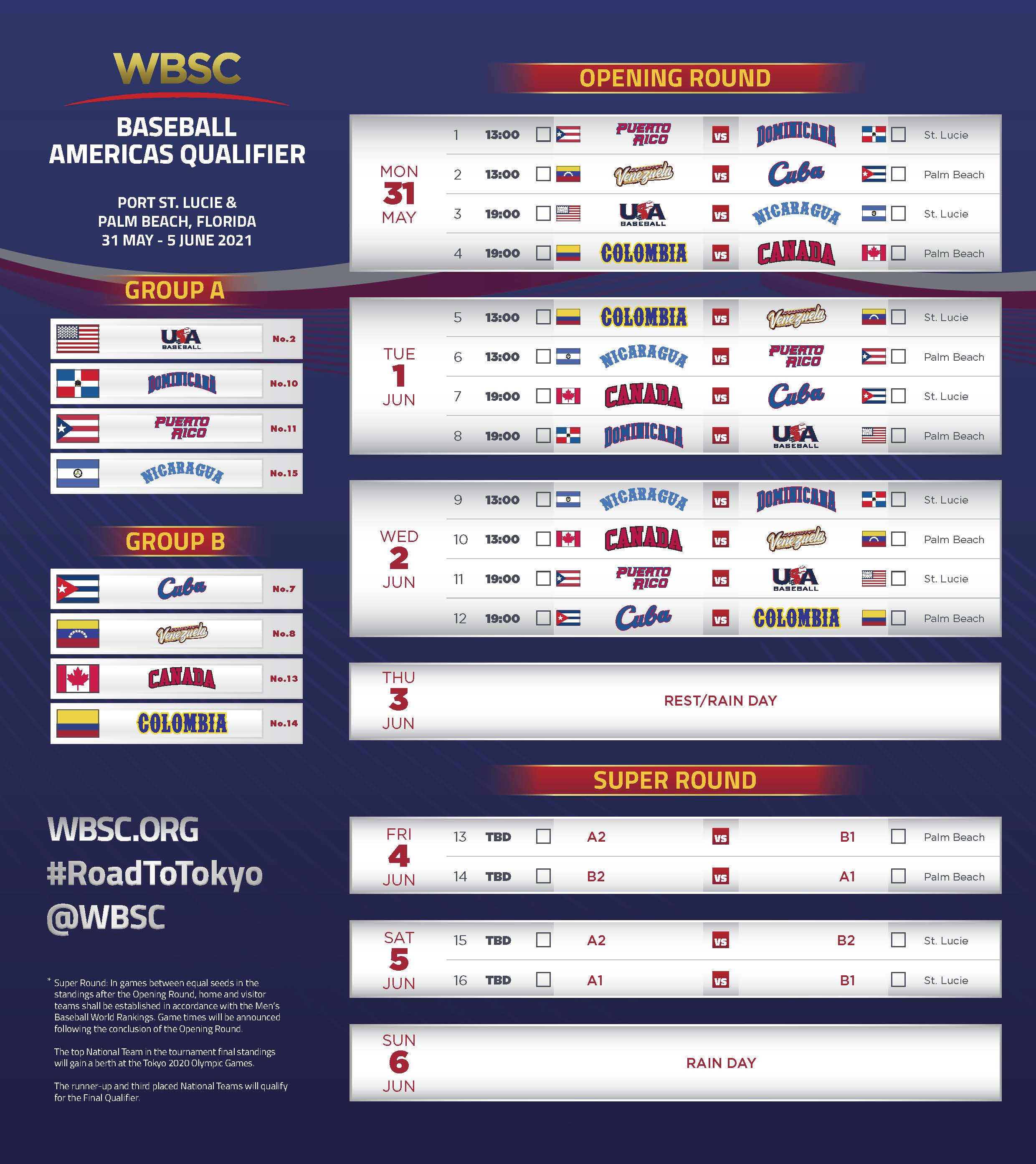 WBSC Baseball Americas Qualifier Schedule