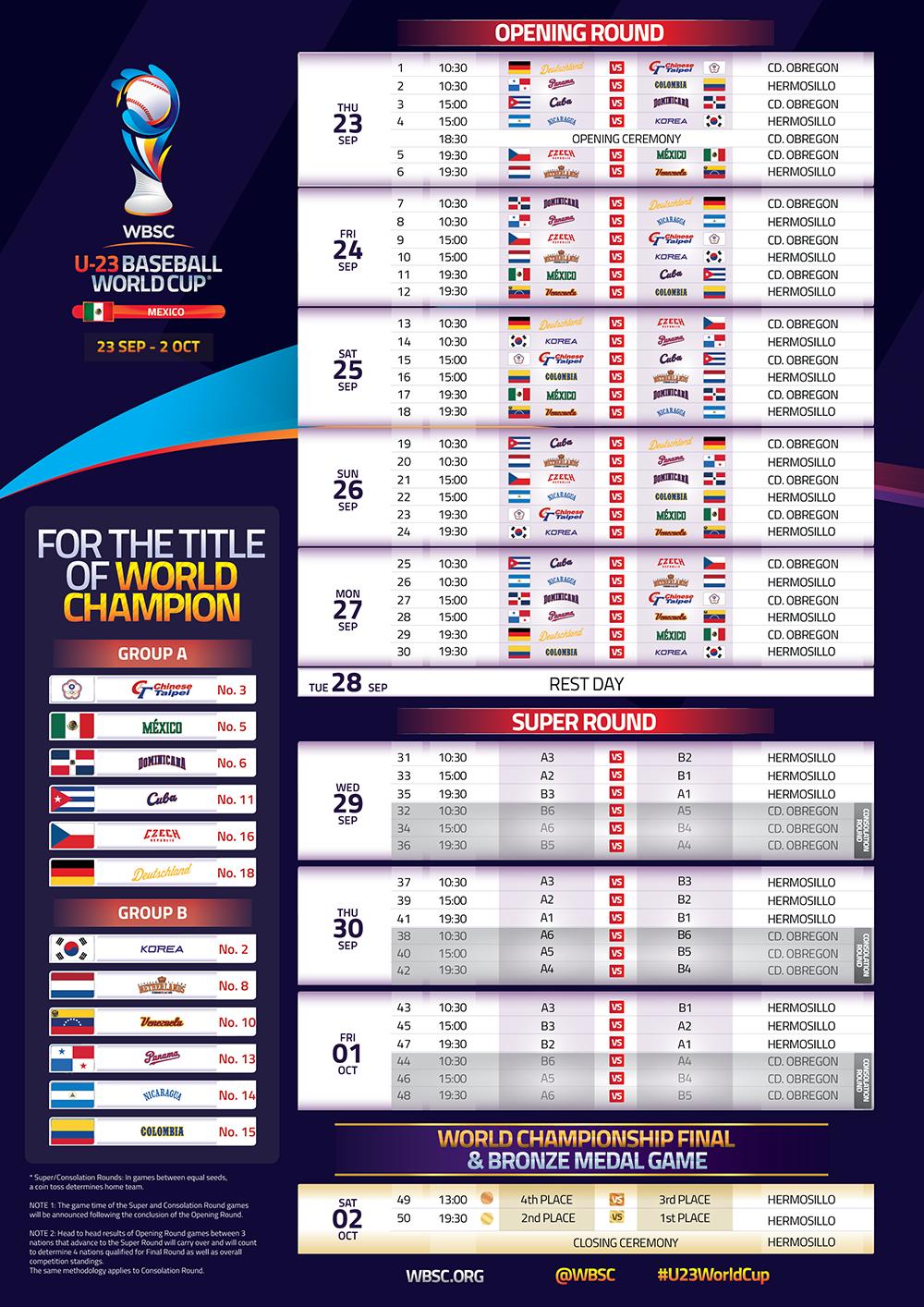 U-23 Schedule