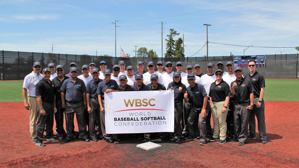 The group of umpires at WBSC officials clinic in San Jose, California