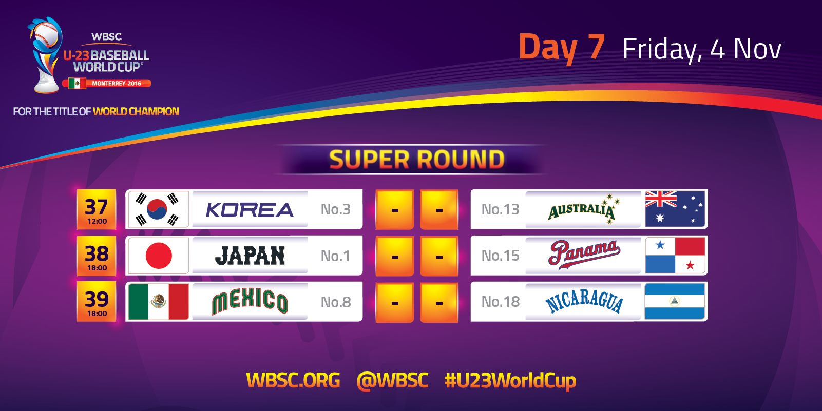 Day 7 - U-23 Baseball World Cup 2016