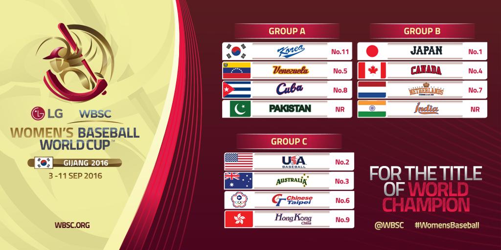L - Groups - LG Presents WBSC Women's Baseball World Cup 2016 Gijang, KOR