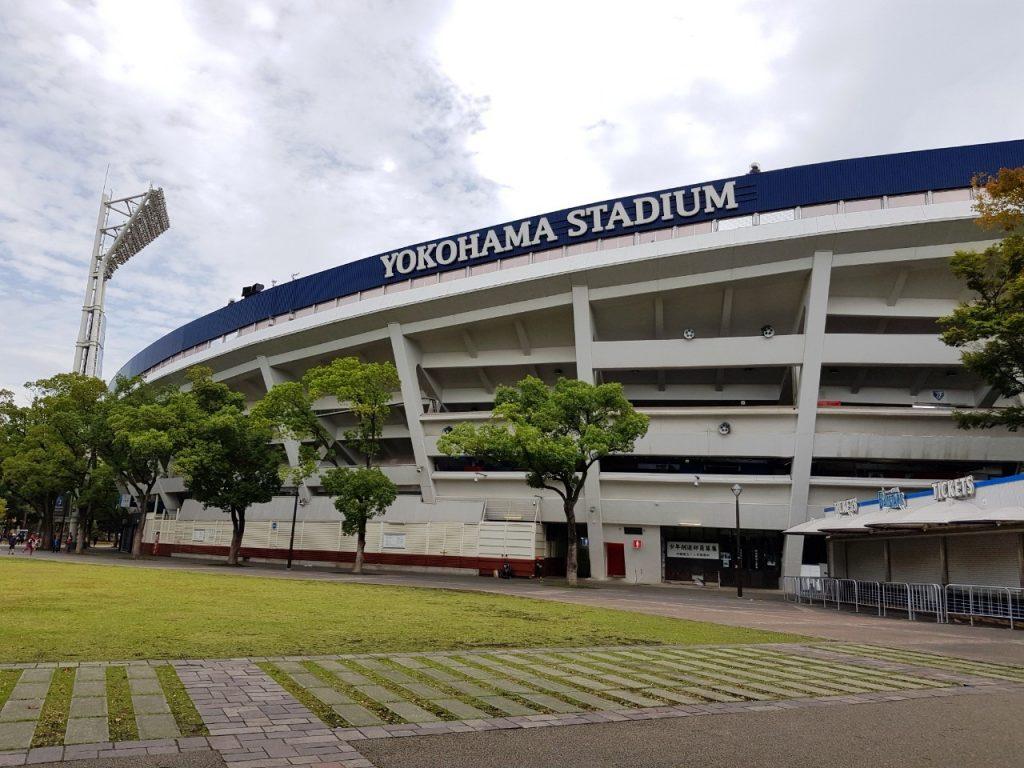 Yamazaki plays for DeNA BayStars at Yokohama stadium